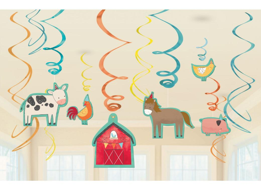 Barnyard Birthday Hanging Swirl Decorations