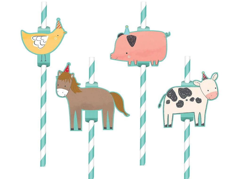 Barnyard Birthday Animal Straws 12pk