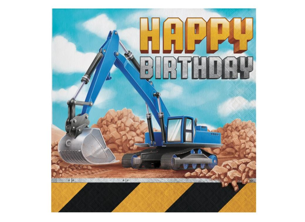 Big Dig Construction Birthday Lunch Napkins 16pk