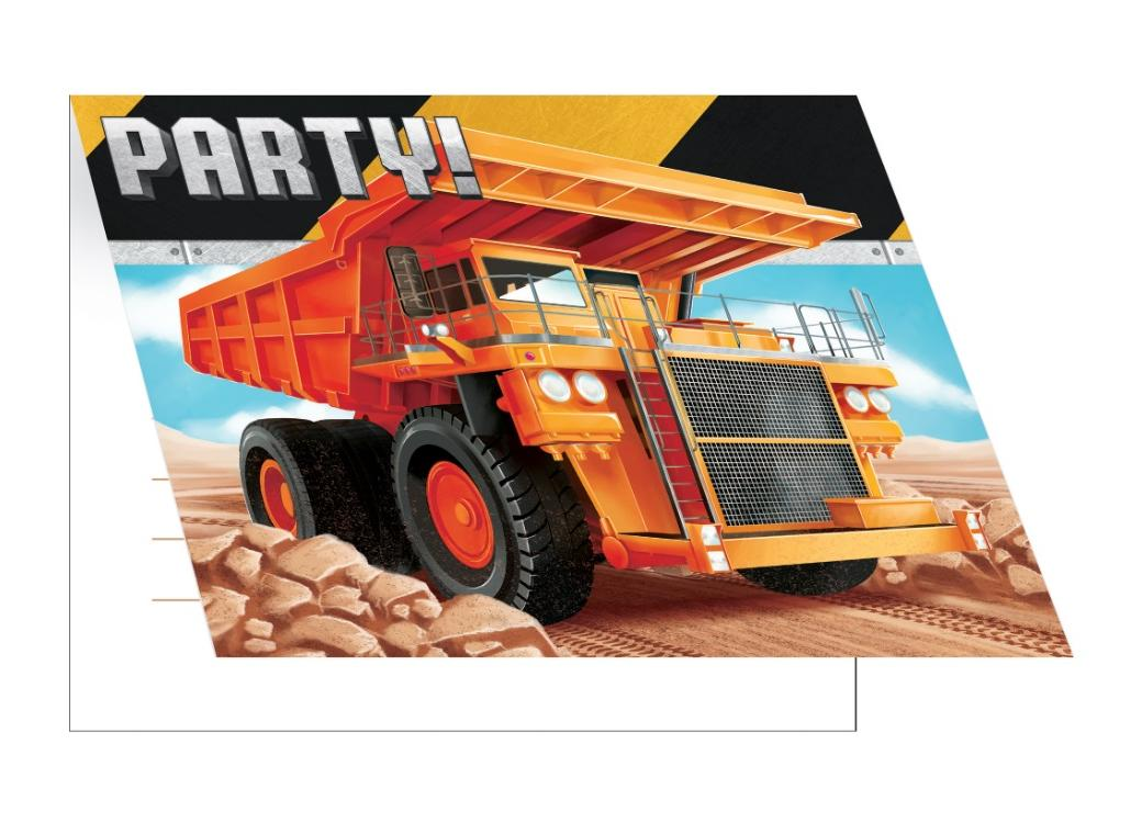 Big Dig Construction Invitations 8pk