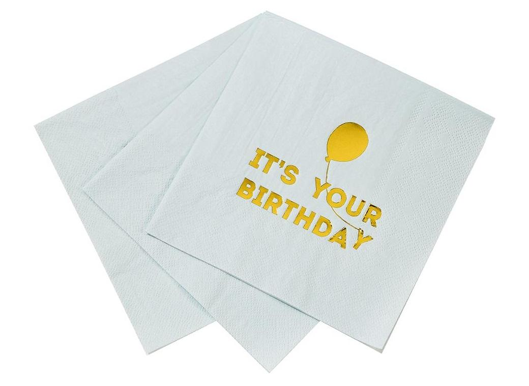 Birthday Balloon Napkins 16pk - Blue