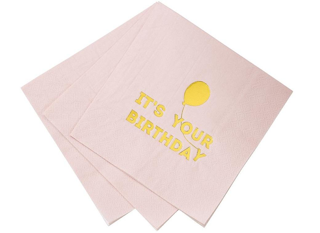 Birthday Balloon Napkins 16pk - Pink