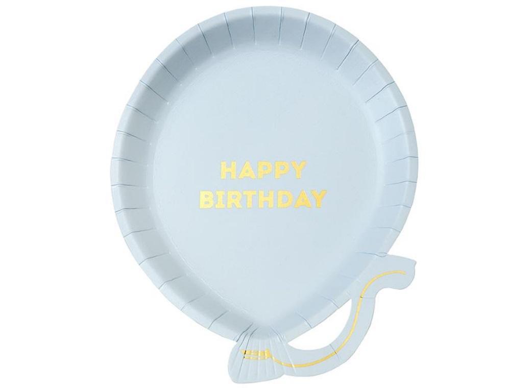 Birthday Balloon Plates 12pk - Blue