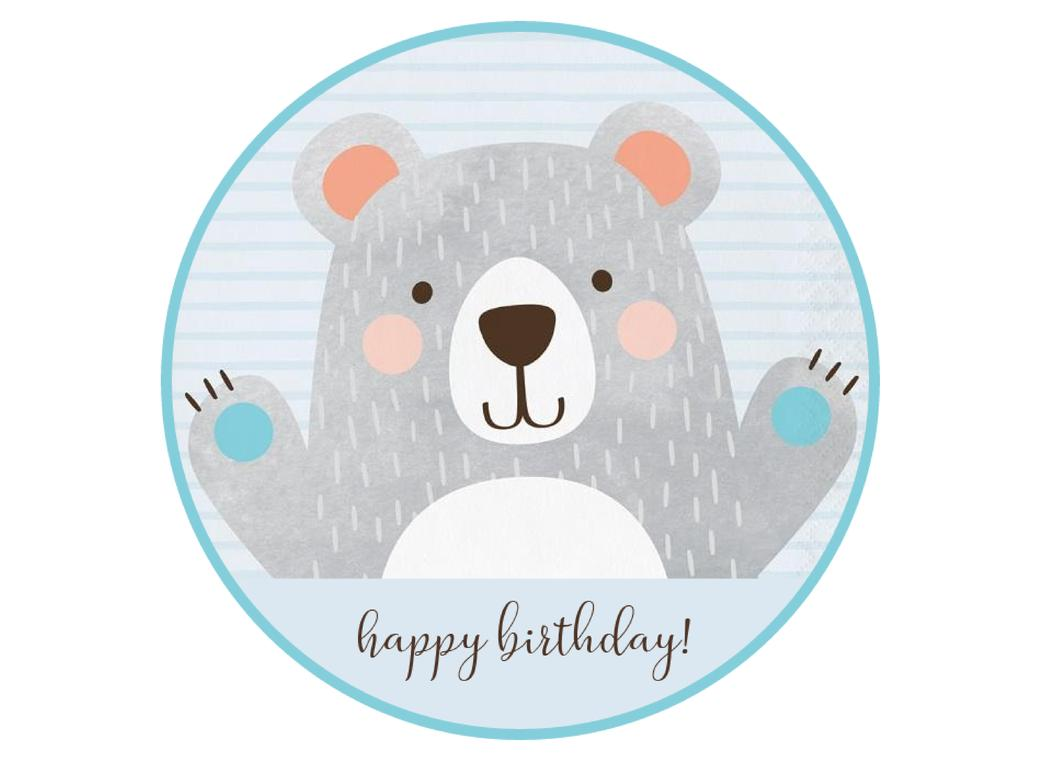 Edible Icing Image - Birthday Bear Round