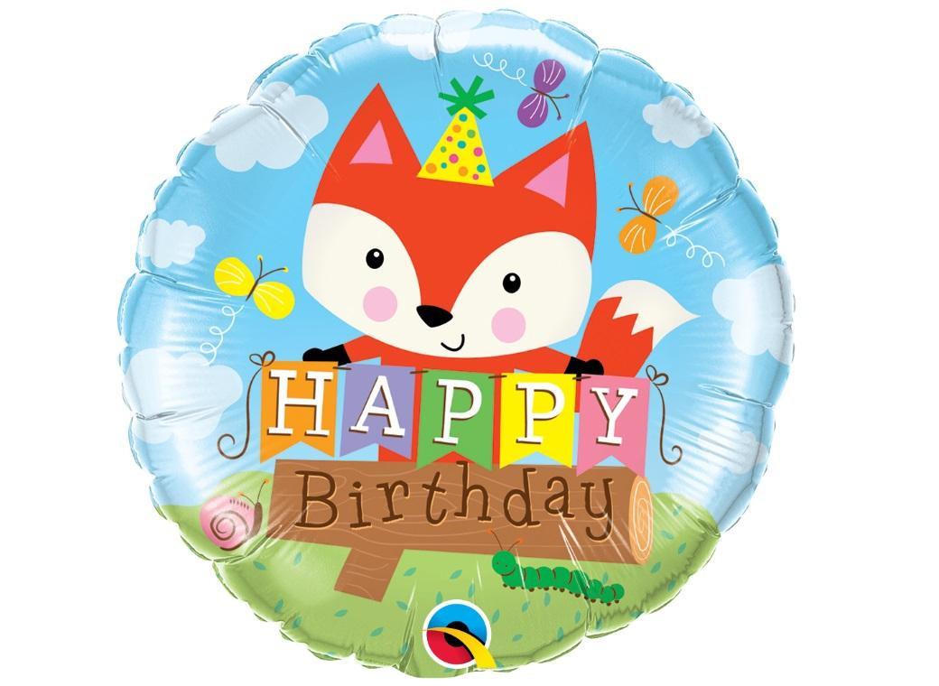 Birthday Fox Foil Balloon