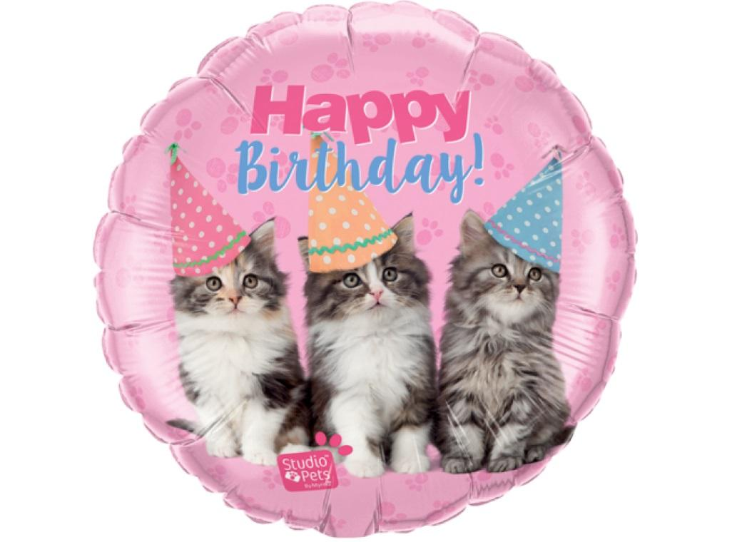 Birthday Kittens Foil Balloon