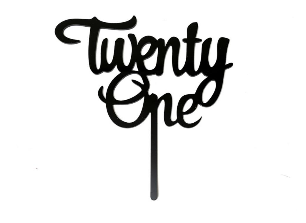 Black Acrylic Cake Topper - Twenty One