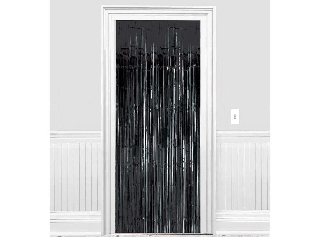 Black Foil Fringed Door Curtain