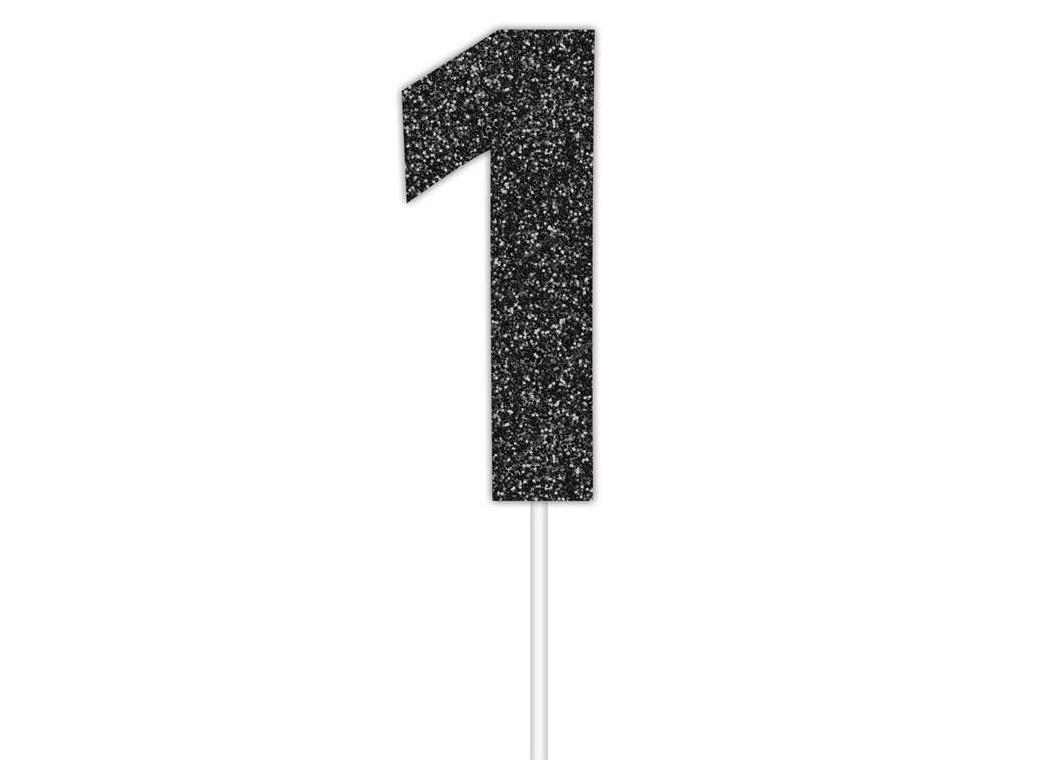 Black Glitter Cake Topper - No 1
