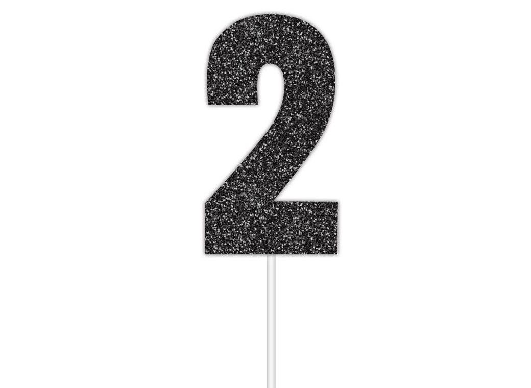 Black Glitter Cake Topper - No 2