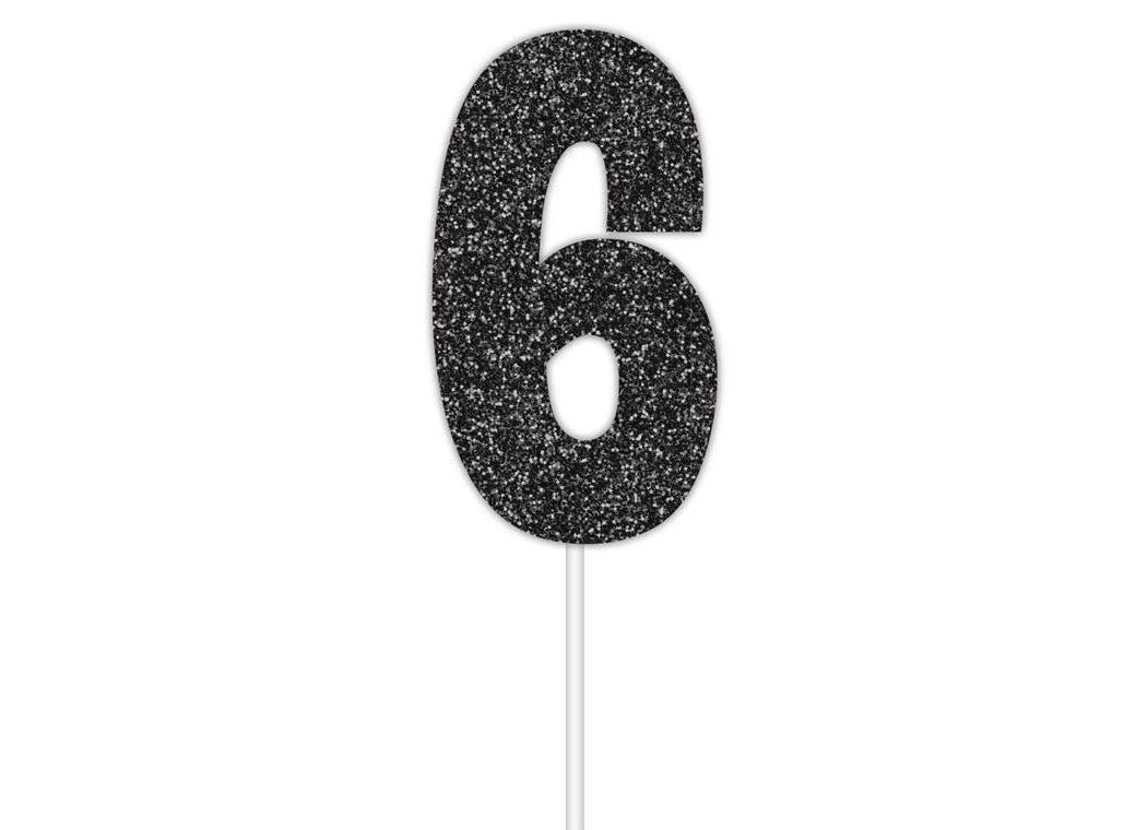 Black Glitter Cake Topper - No 6