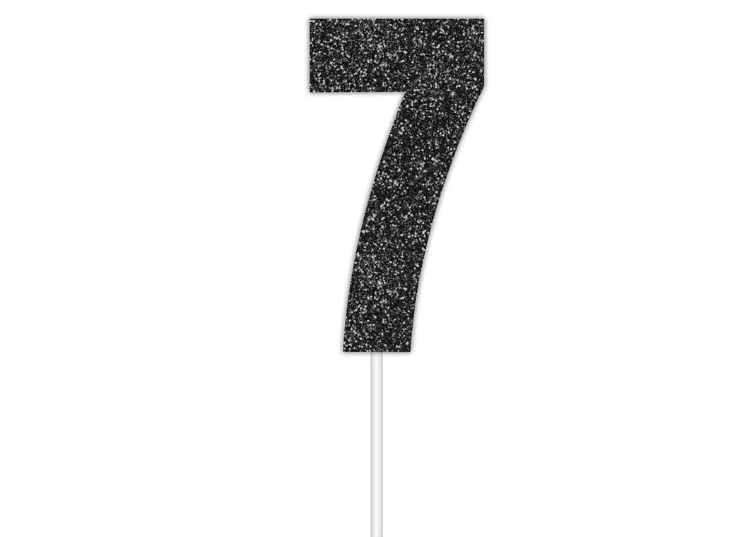 Black Glitter Cake Topper - No 7
