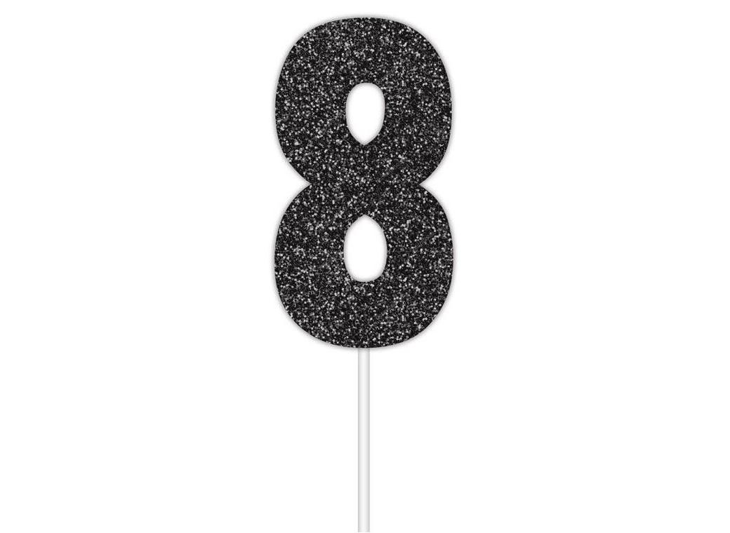 Black Glitter Cake Topper - No 8