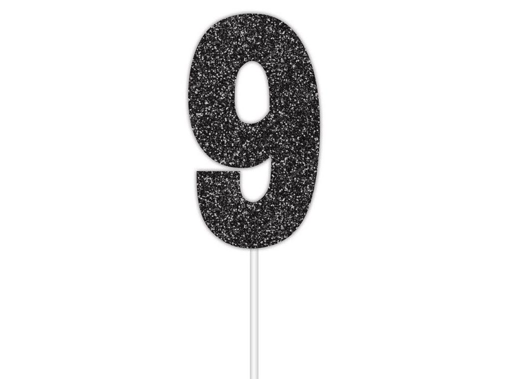 Black Glitter Cake Topper - No 9