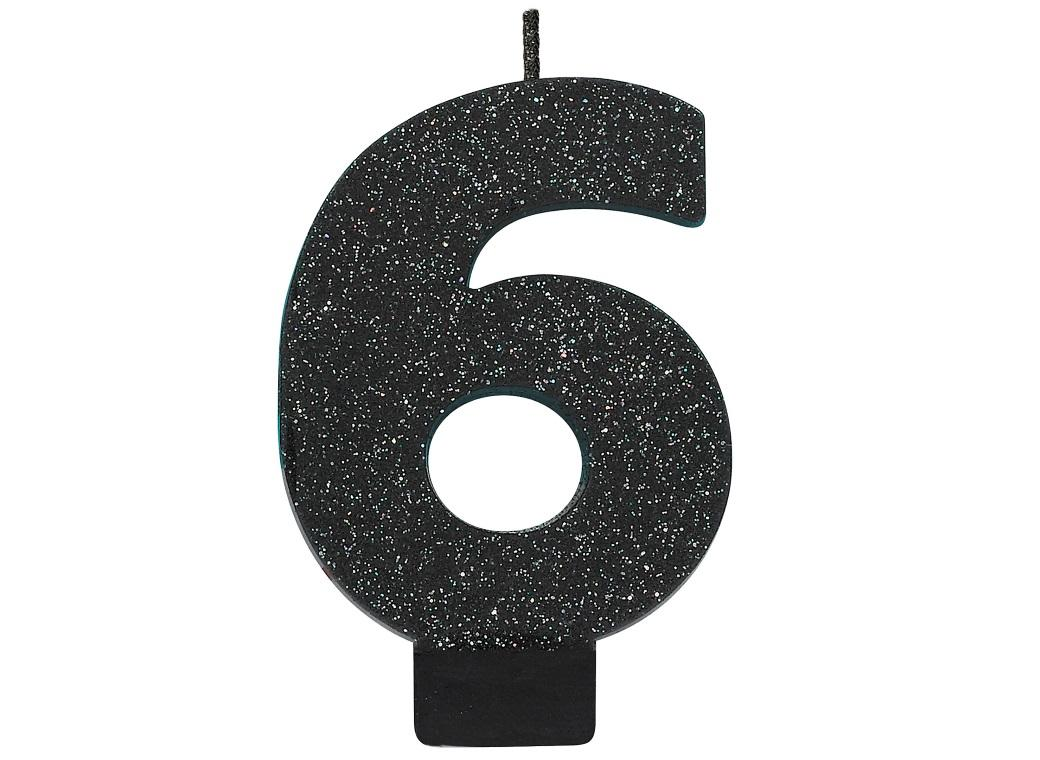 Black Glitter Candle - Number 6