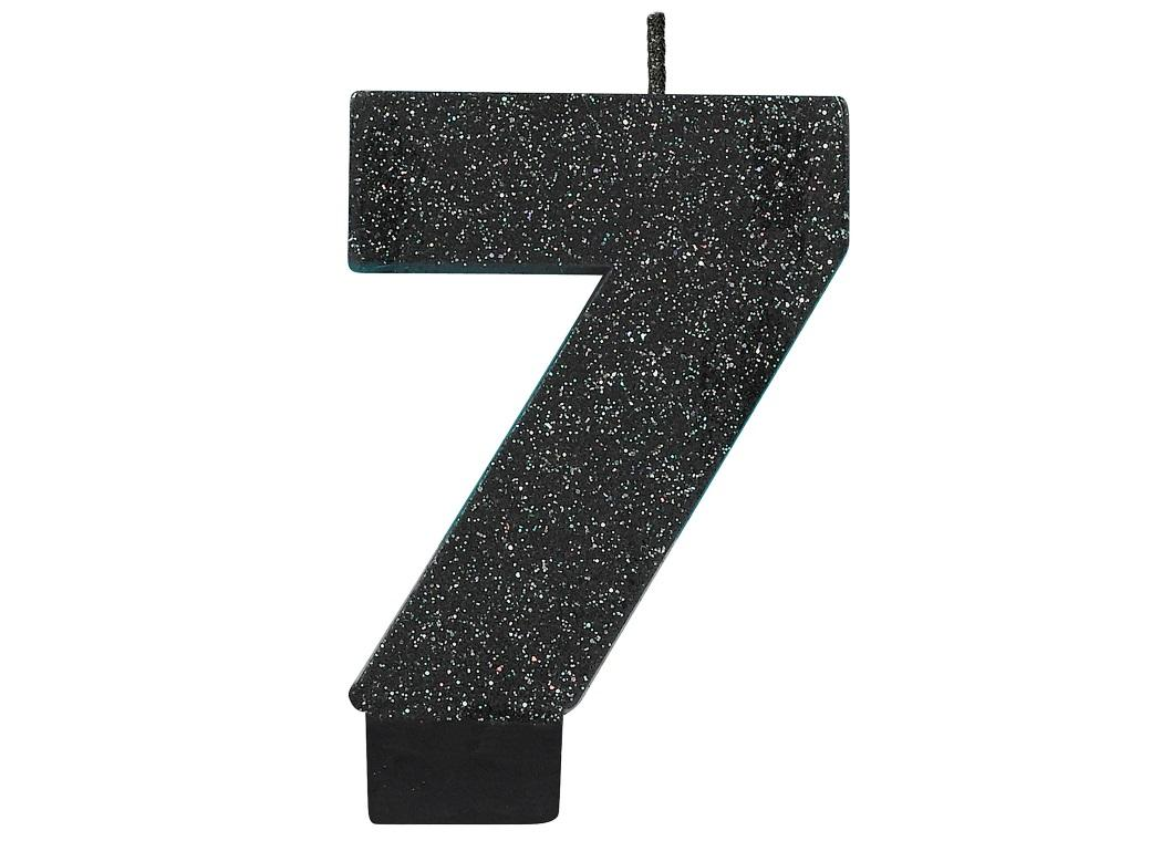 Black Glitter Candle - Number 7