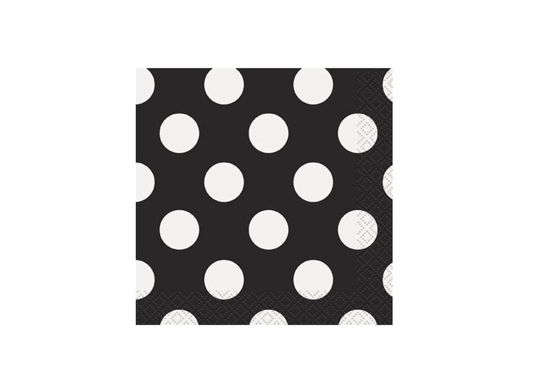 Black Polka Dot Beverage Napkins