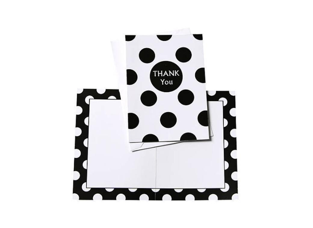 Black Polka Dot Thank You Cards