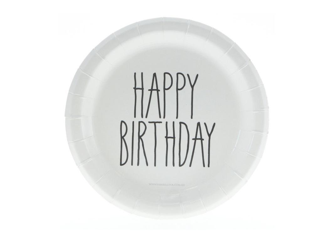 Black Print Happy Birthday Cake Plates