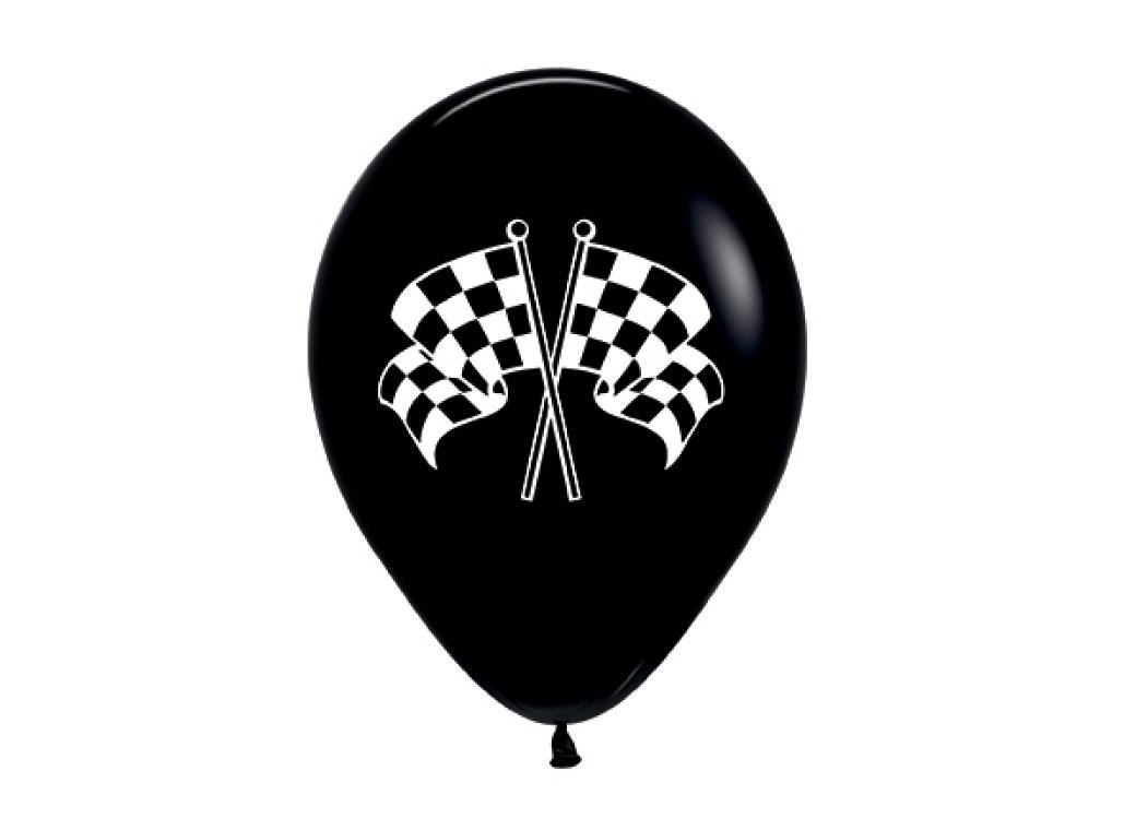 Black Racing Flag Balloons 6pk