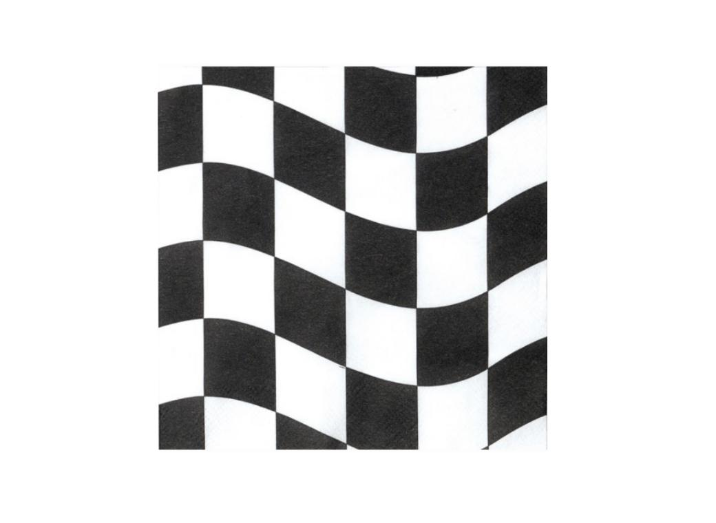 Black & White Check Beverage Napkins - 12pk