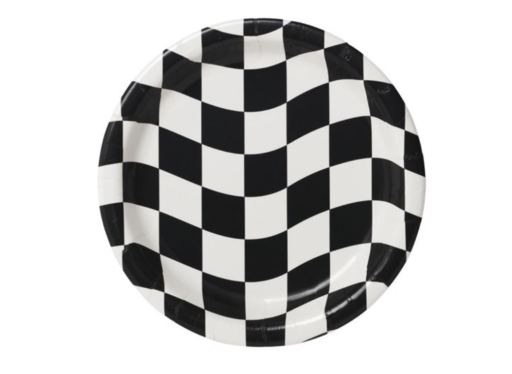 Black & White Check Dinner Plates - 8pk