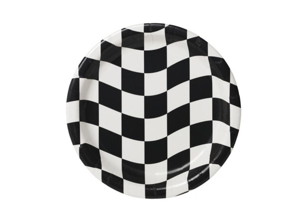Black & White Check Lunch Plates - 8pk