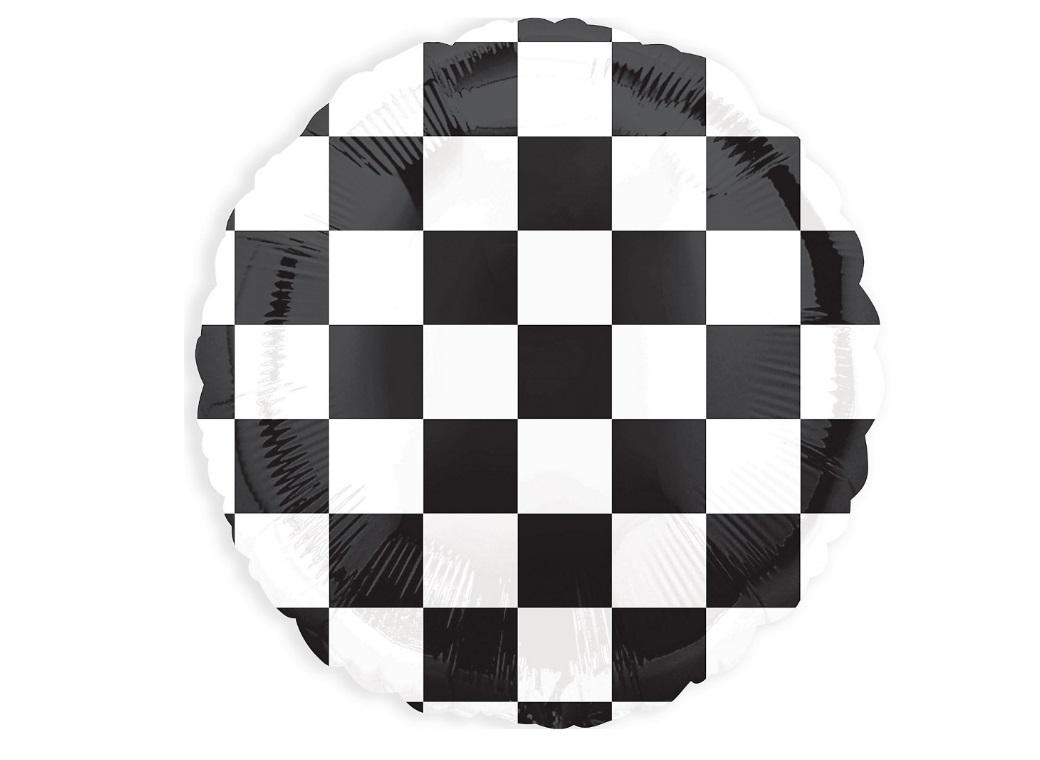 Black & White Checkered Foil Balloon
