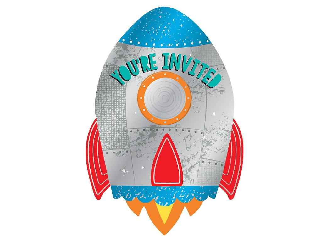 Blast Off Invitations 8pk