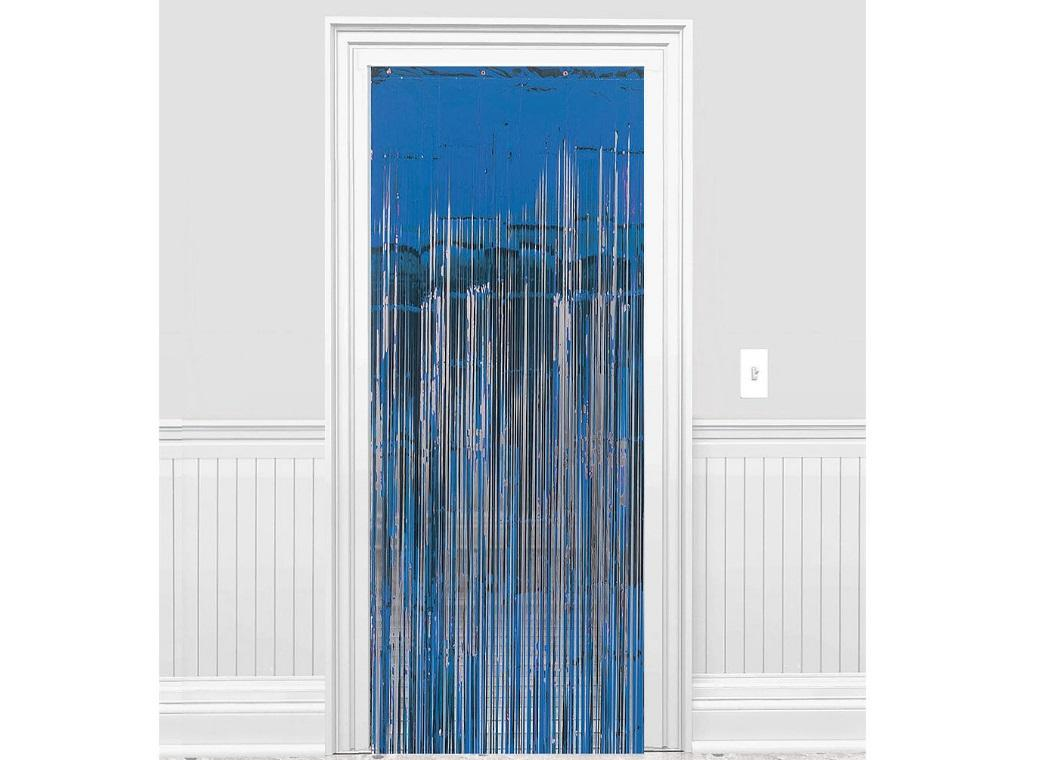 Blue Foil Fringed Door Curtain