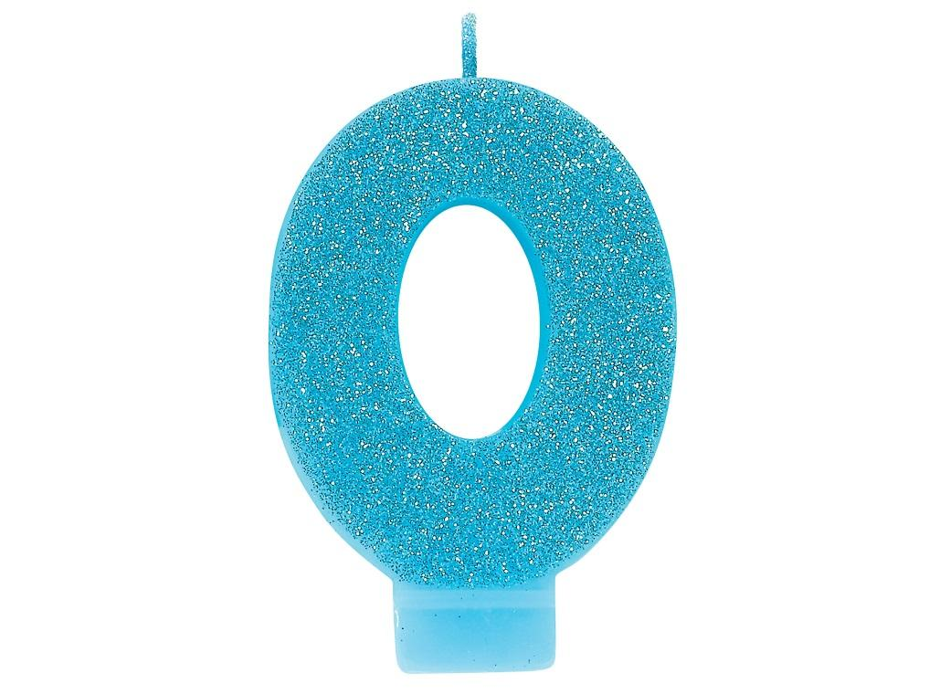 Blue Glitter Candle - Number 0