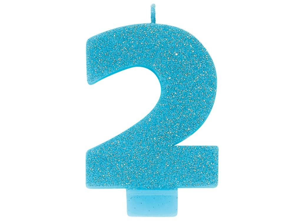 Blue Glitter Candle - Number 2