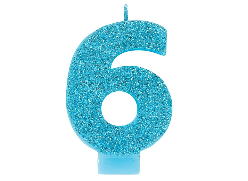 Blue Glitter Candle - Number 6