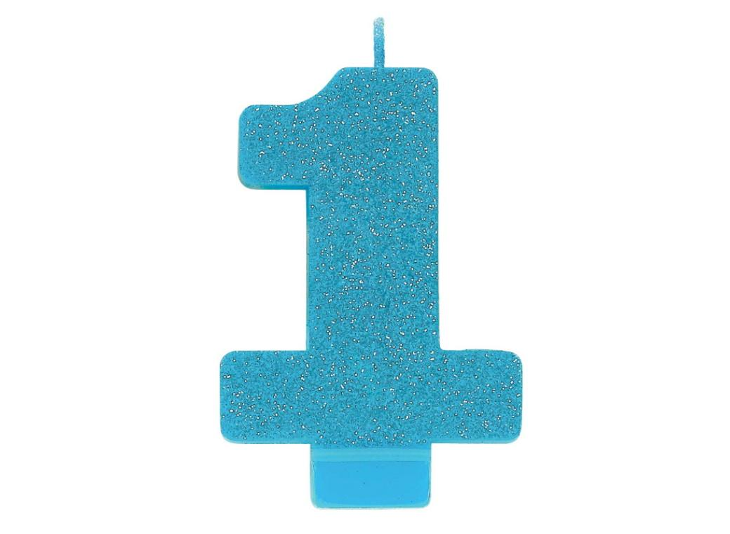 Blue Glitter Candle - Number 1