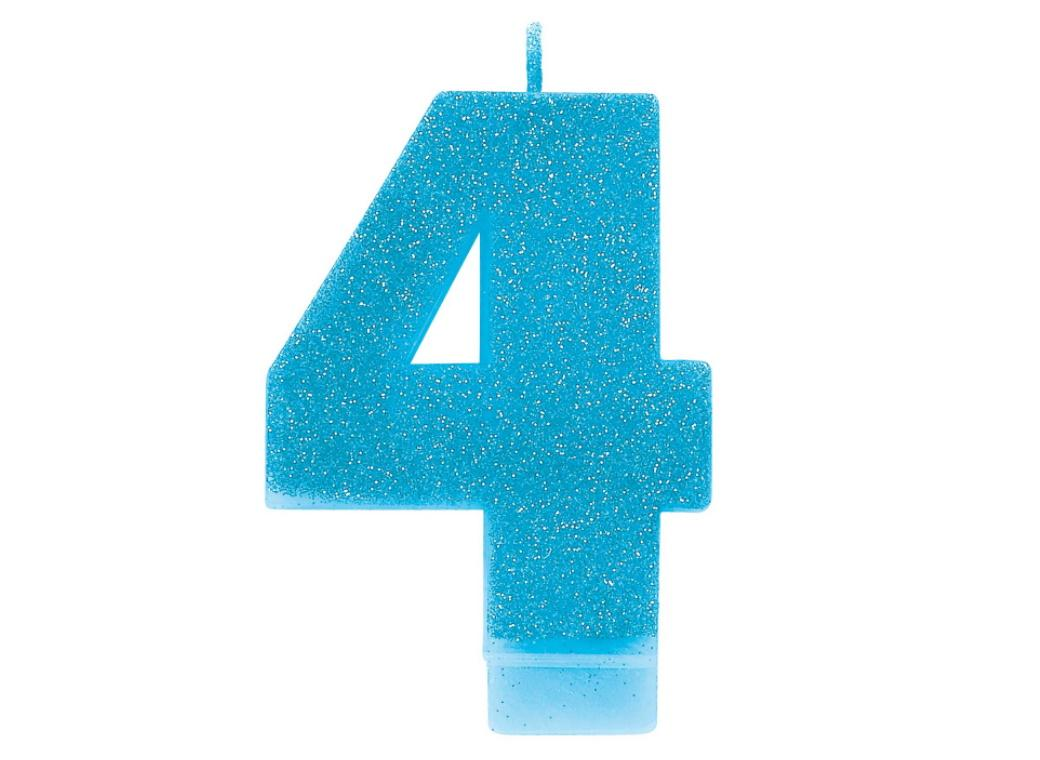 Blue Glitter Candle - Number 4