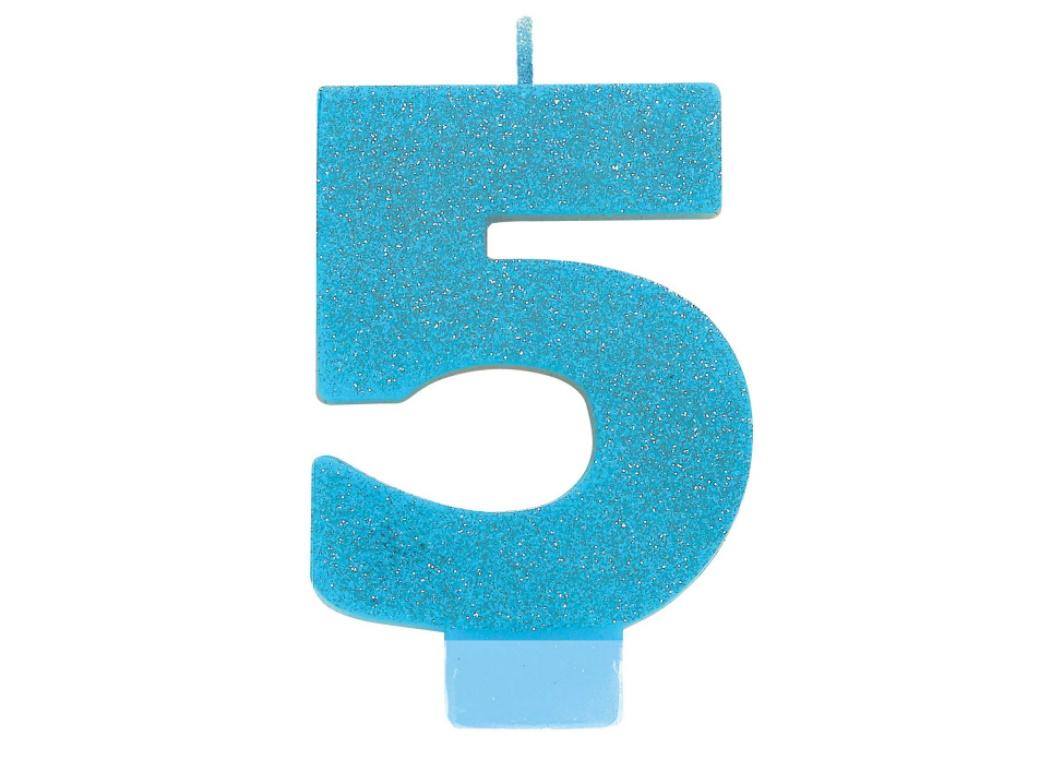 Blue Glitter Candle - Number 5