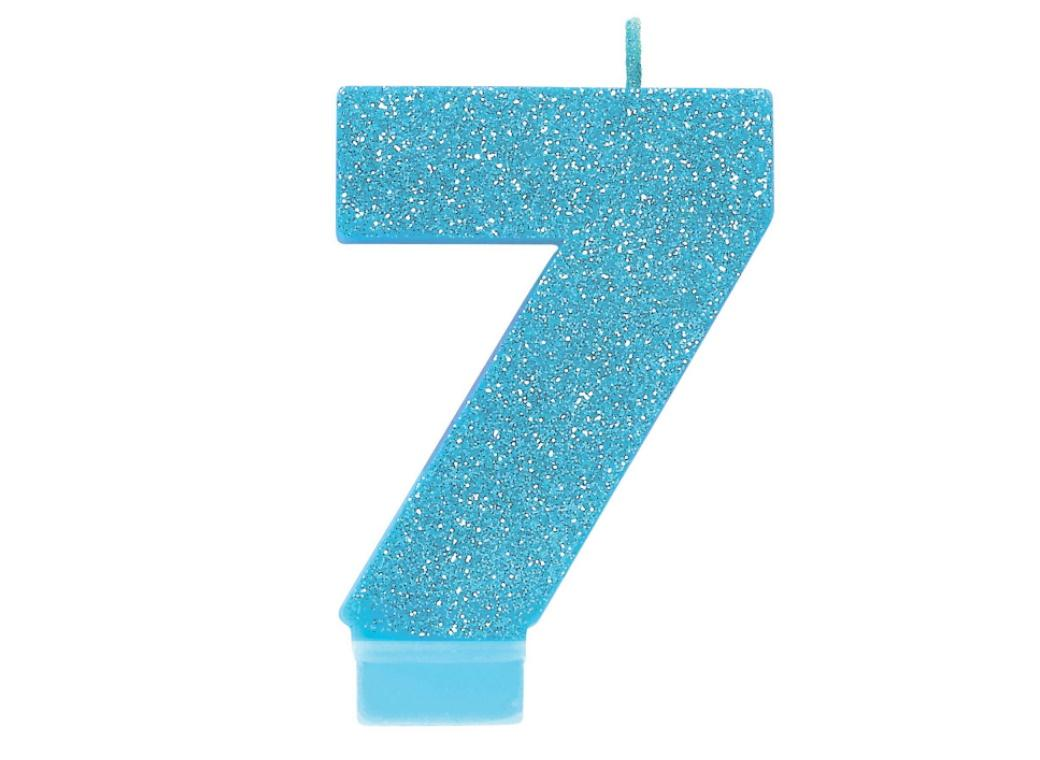 Blue Glitter Candle - Number 7