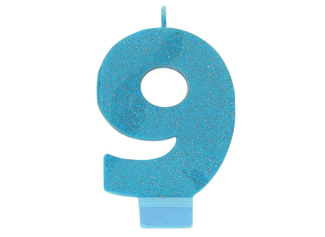 Blue Glitter Candle - Number 9