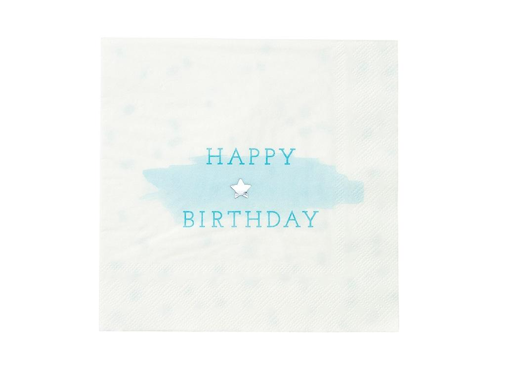 Blue Happy Birthday Napkin - 16pk