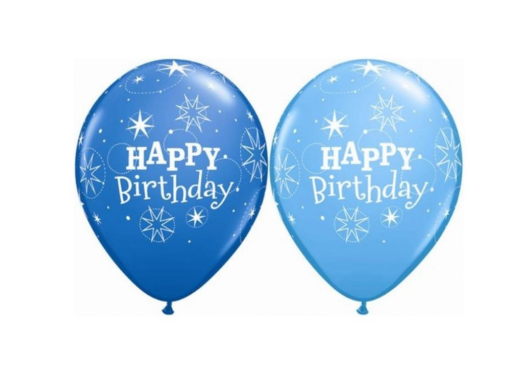 Happy Birthday Sparkle Balloons - Blue