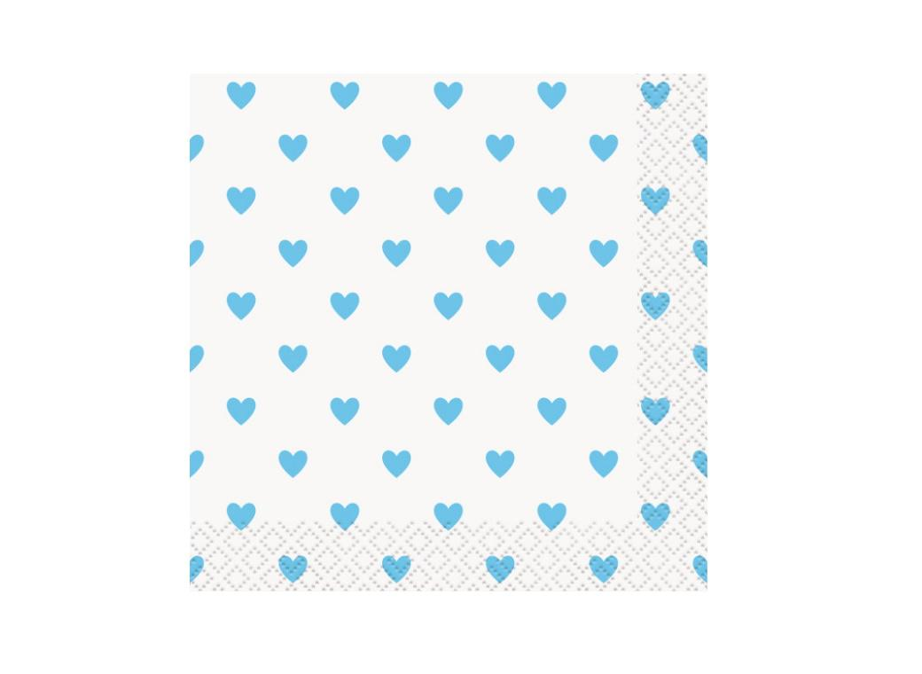 Blue Hearts Baby Shower Beverage Napkins 16pk