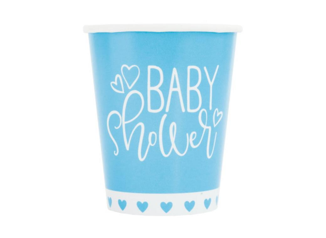 Blue Hearts Baby Shower Cups 8pk