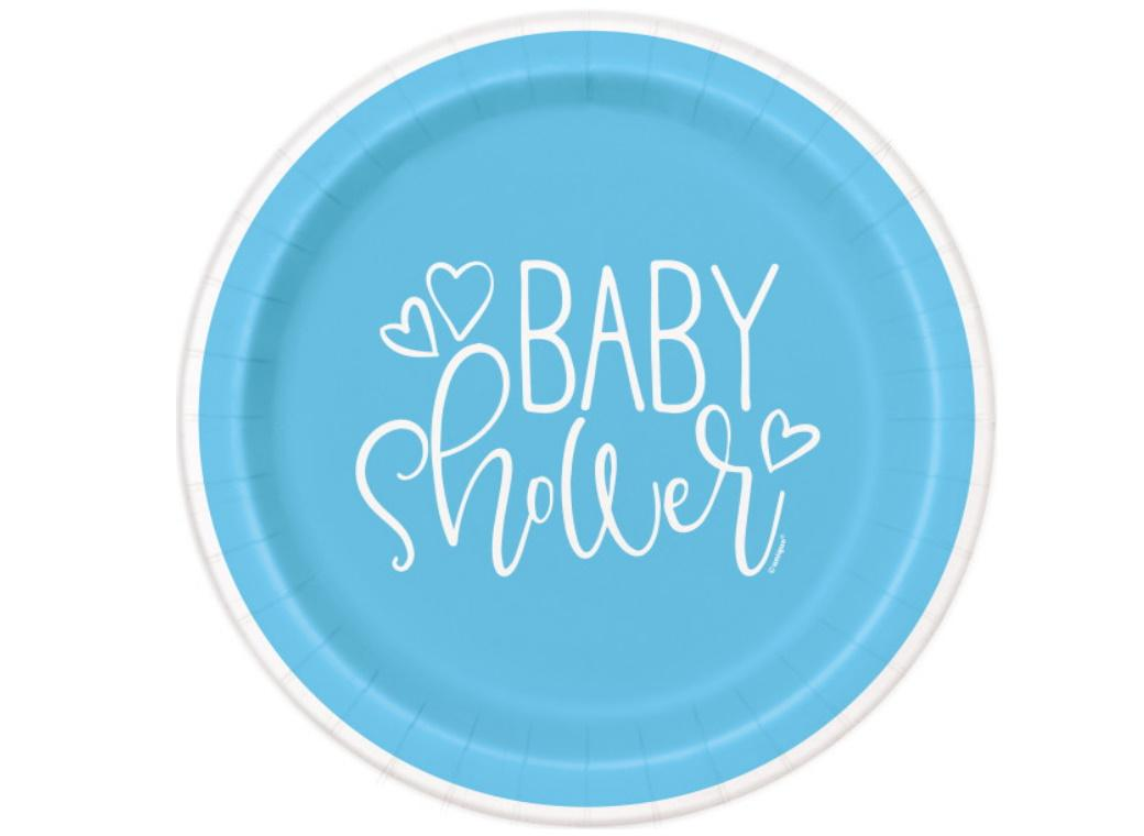 Blue Hearts Baby Shower Dinner Plates 8pk