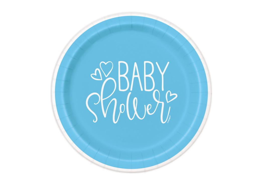 Blue Hearts Baby Shower Lunch Plates 8pk
