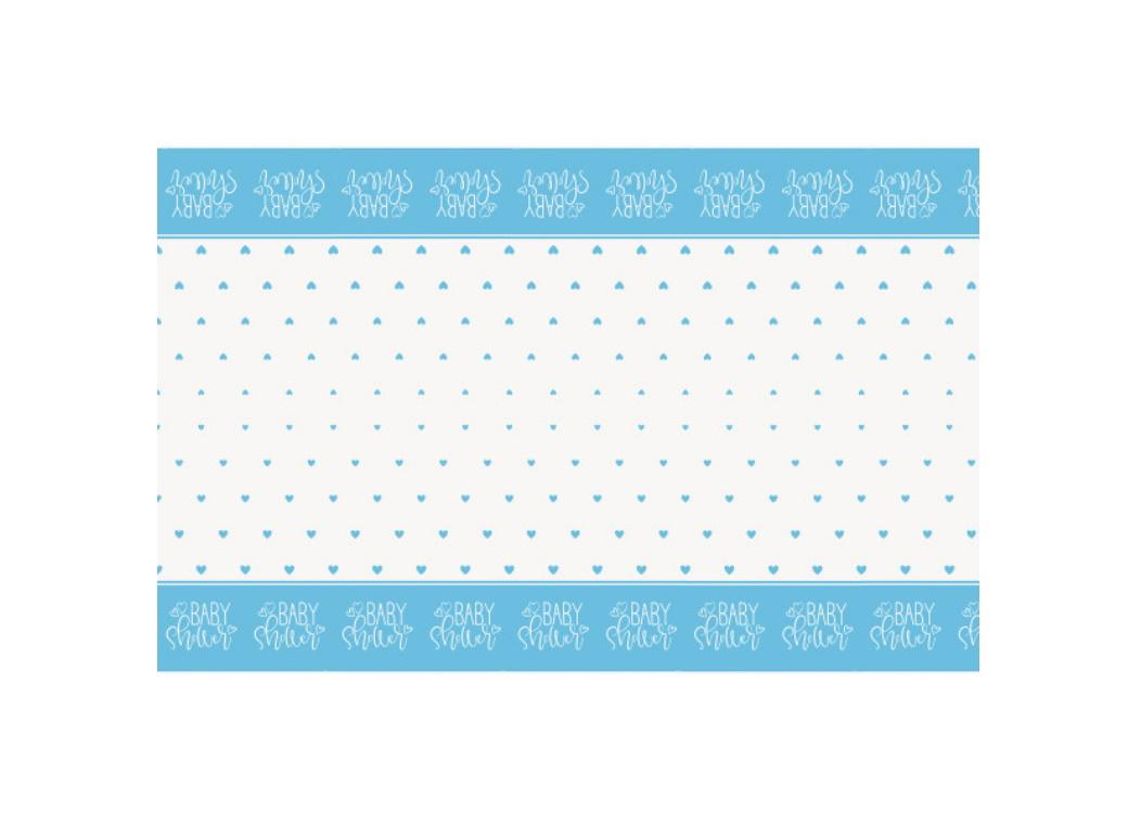 Blue Hearts Baby Shower Table Cover
