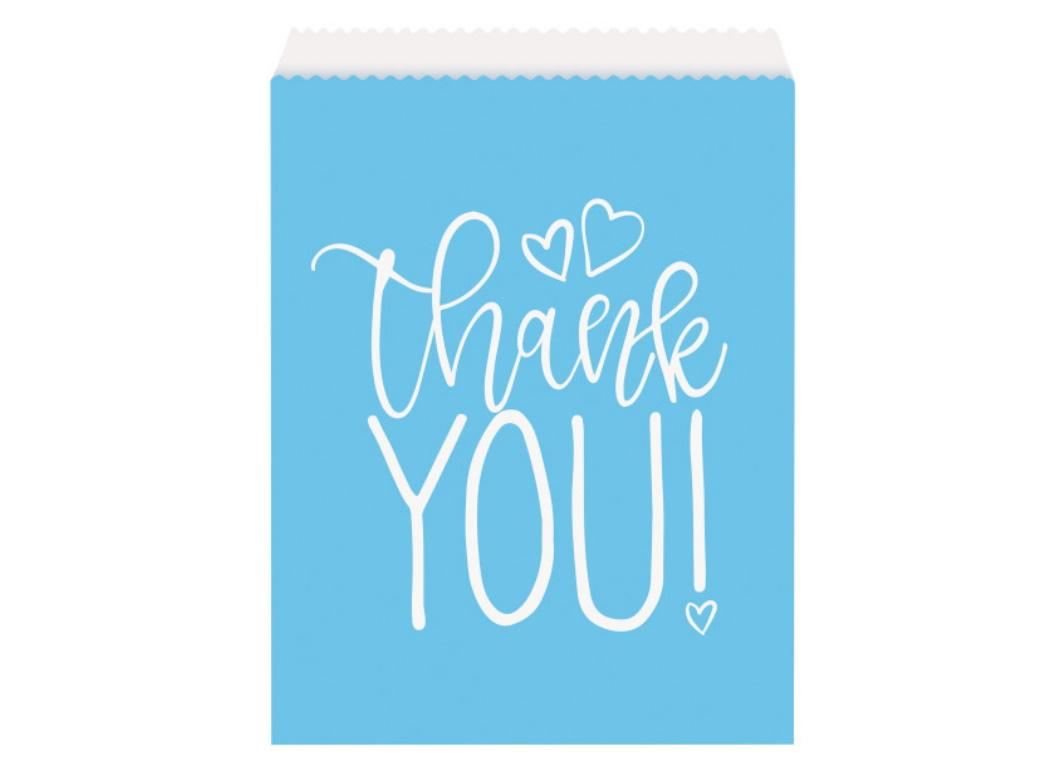 Blue Hearts Baby Shower Thank You Bags 8pk