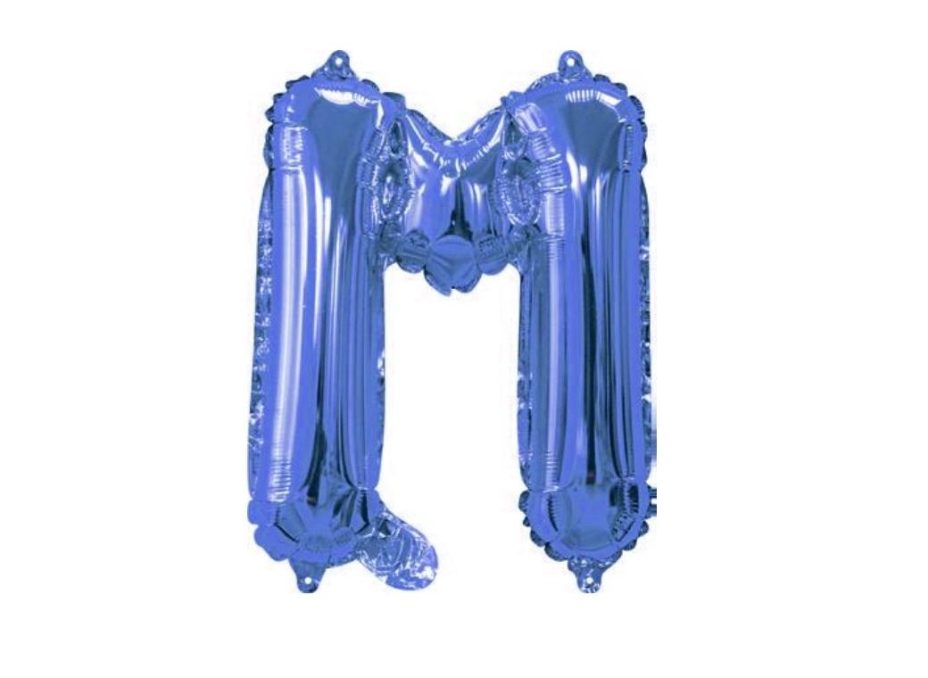 Mini Blue Foil Balloon - Letter M