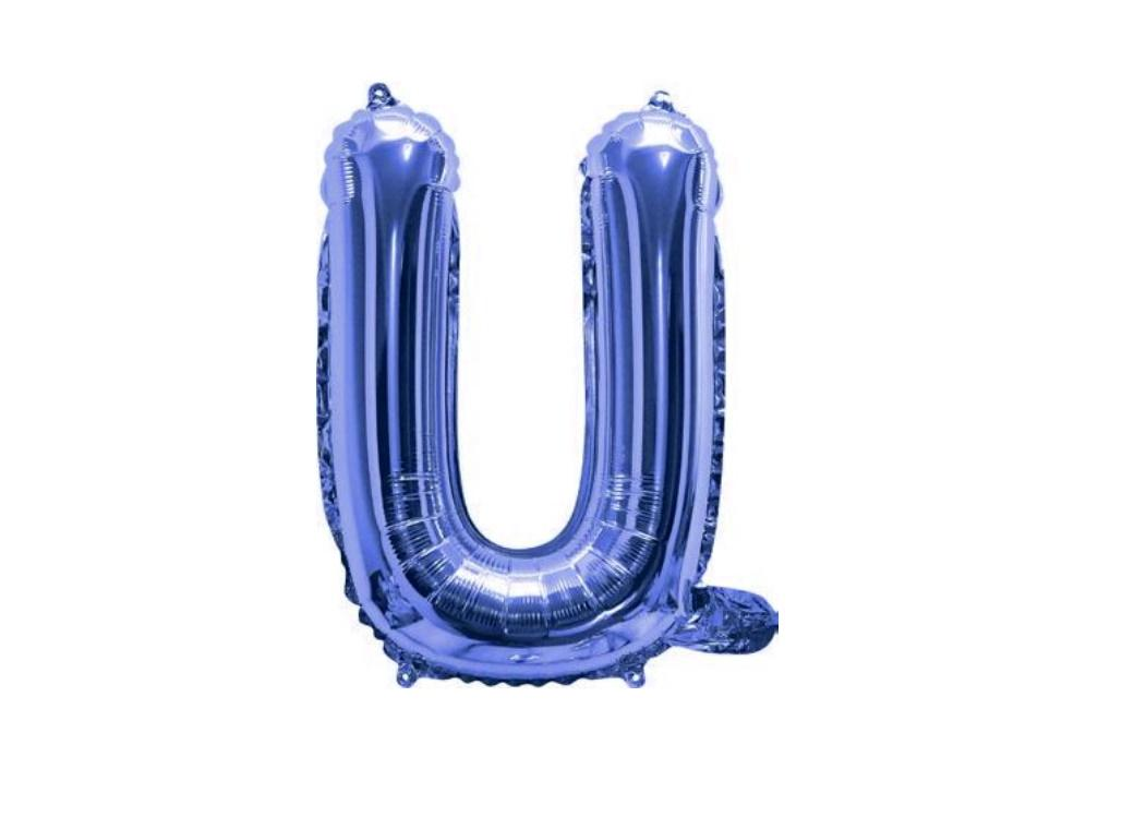 Mini Blue Foil Balloon - Letter U