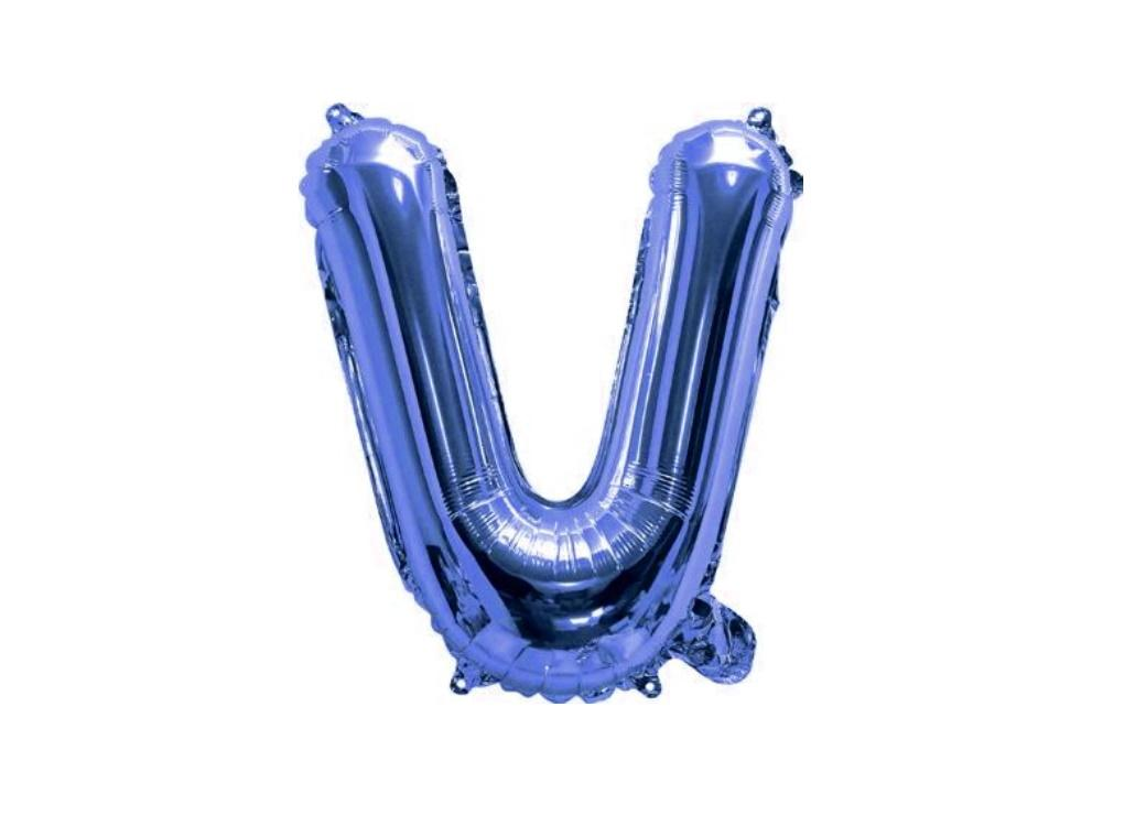 Mini Blue Foil Balloon - Letter V