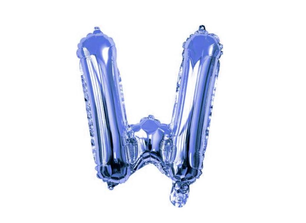 Mini Blue Foil Balloon - Letter W